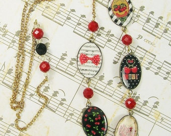 "Sweet Cherries Necklace 32"" Chain and Resin Art Charms"