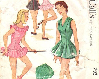 McCalls 793 1950s  Misses Girls DANCE COSTUME Pattern Dress and Bloomers Vintage Sewing Pattern Size 10 Breast 28 OR Size 12 Bust 30