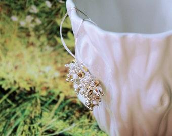 White/Gold Sterling Silver Earrings