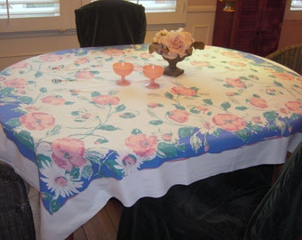 Vintage Tablecloth Startex Pretty Poppies in Pink & Blue