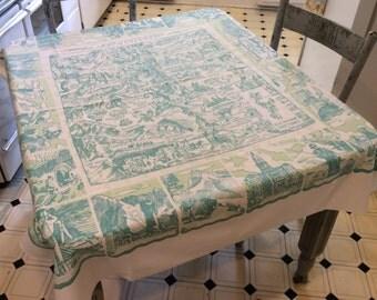 Vintage Souvenir Tablecloth Colorado 1930s Cowboys & Gold Mines