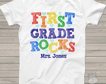 Back to school TEACHER shirt - first grade or any grade rocks colorful personalized unisex ADULT Tshirt