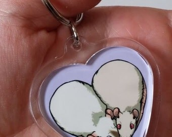Cute Rat Heart Keychain - Custom made to order