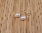 Pale Pink Pearl Earrings Pearl Drops Light Mauve Earrings Simple Elegant Freshwater Pearls Big Pearl Earrings Gold Dangles Valentines Day