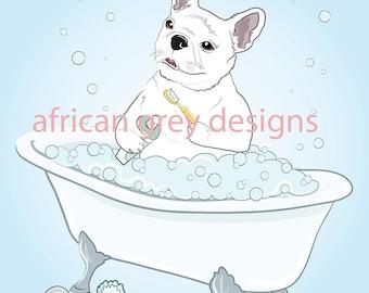 Reserved - Put the Seat Down - Bathtub White Frenchie - 8x10 Eco-friendly Prints