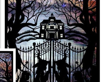 Halloween Print- Spooky Goth Mansion,  Halloween Decor, Halloween Paper cut, Halloween Art