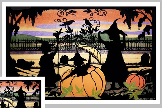 Child's Halloween Card, Jack O Lantern, Halloween Invitation,  Paper Cutting, Witches, Pumpkins, Halloween Greeting Card