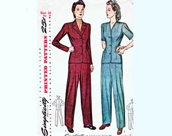 1940s Sewing Pattern Womens Pants and Shirt Pattern 36 Bust UNCUT