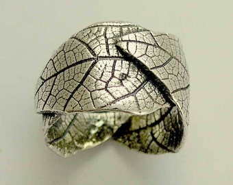 Sterling silver band, oxidized ring, leaf band botanical band,  wide band, leaves ring, nature ring, wedding band - falling leaves R1638