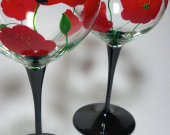 Red Poppies Balloon Wine Glasses Hand Painted - set of 2