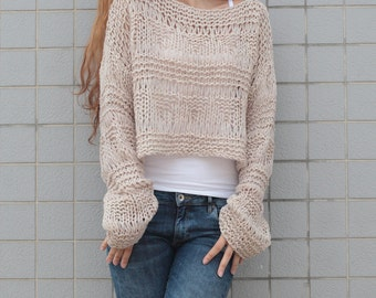 Hand knit sweater wool woman sweater cropped sweater Wheat pullover sweater-ready to ship