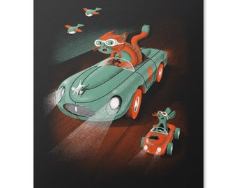 Catch Me If You Can Print / Cat Art Print / Mouse Print / Race Car Wall Art / Animal Art Print / Home Decor / 8 x 10