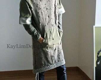 Men's Hoodie / long hoodie / mens long tunic / hooded tunic / oversized hooded tshirt- KMT 085
