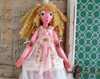 Tedi Bear Girl, doll ornament, puppet art doll, handmade in the USA