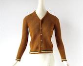 Vintage Striped Cardigan / Co-Ed Club / 1960s Sweater / XXS