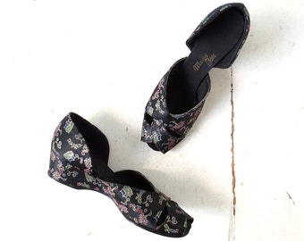 Vintage 1940s Shoes / Boudoir Slippers / 40s Shoes / Satin Slippers / Size 8