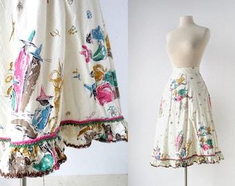 Vintage 1950s Skirt / Campfire Dance / Novelty Print Skirt / 50s Skirt / 23W XXS