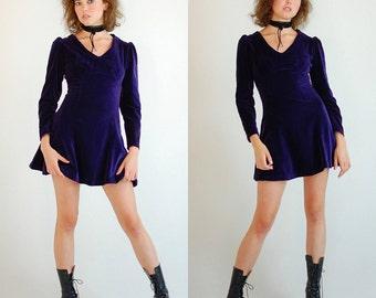 Velvet Mod Mini Dress Vintage 60s Plum Velvet Holiday Mod Micro Mini Dress (xs)
