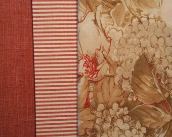 FL009 ~ Floral print Tans and rusty pinks Stripes Solids Cotton fabric 3 pieces
