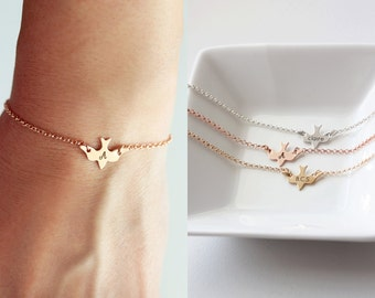 Engraved Bird Bracelet - Custom Bird Personalized Bridesmaid Gift Wedding Initial Bracelet Name Dainty Bird Engraved Swallow Sparrow