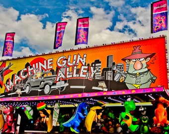 Machine Gun Alley Shooting Carnival Fair Game Fine Art Print- Carnival Art, County Fair, Nursery Decor, Home Decor, Children, Baby, Kids
