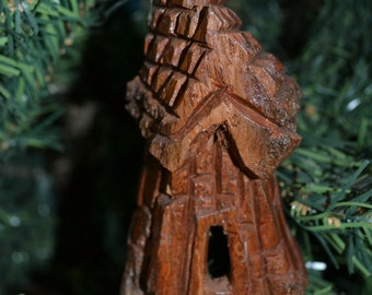 Handmade Christmas Ornament, Cottonwood Bark Carving, Whimsical House, Cottage, Fairy House, Gnome Home, Hand Carved 948