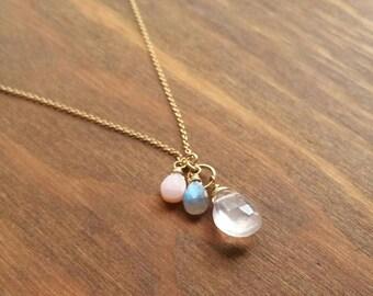 Rose Quartz, Labradorite, & Pink Opal Gemstone Charm Necklace, Long 14kt Goldfilled Skinny Chain