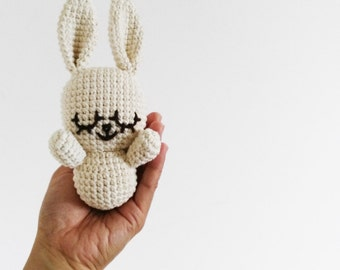 Crochet Baby Bunny - handmade adorable cotton white stuffed amigurumi rabbit cuddle  plush rattle chew toy doll animal newborn photo prop