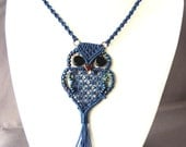 Navy Owl Necklace -  Micro Macrame jewelry - Macrame Owl Pendant - Blue Necklace - Updated Hippie Retro