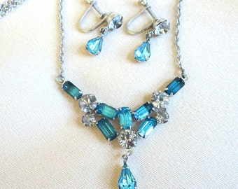 Topaz Blue & Clear Rhinestones Necklace and Dangle Earrings Set Vintage Wedding Bridal