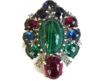 Art Glass Cabochons Brooch with Red, Green and Cobalt Blue & Vintage Clear Rhinestones