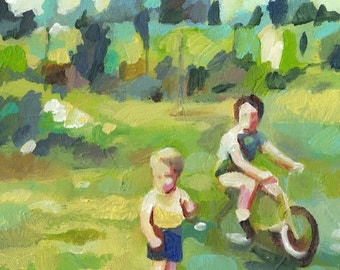 Children playing in the courtyard- boys painting - original painting -acrylic painting on canvas - illustration painting