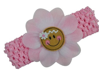 Baby and Toddler Girls Sweet Gingerbread Pink Flower Headband