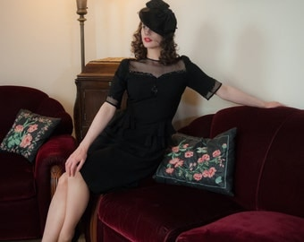 Vintage 1940s Dress - Spectacular Beaded Black Rayon Peplum Ruffle 40s Cocktail Dress with Sheer Black Mesh Décolletage and Sleeves