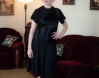 Vintage 1940s Dress - Incredibly Glossy Black Rayon Charmeuse Satin and Crepe 40s Cocktail Dress with Hip and Shoulder Drape