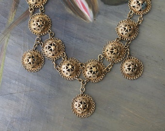 Antique Boho Filigree Cannetille Necklace, Vermeil Floral Beehive Pattern, Gold Gilt Wash