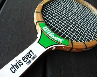 Vintage Tennis Racket | Chris Evert  | Shot Maker Wood Racquet | Wilson | Strata Bow | Outdoor Sports | Collectible