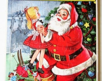 Jigsaw Picture Puzzle 1965 Cute Girl Santa Claus Xmas Christmas Night Vintage Frame-Tray Inlay Whitman USA Great Gift