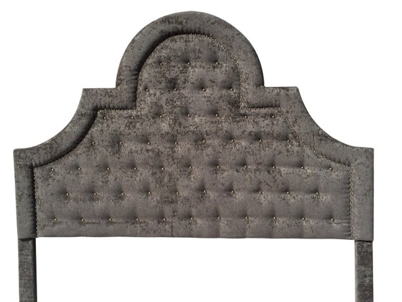 gray king size upholstered headboard with nails gray velvet. Black Bedroom Furniture Sets. Home Design Ideas