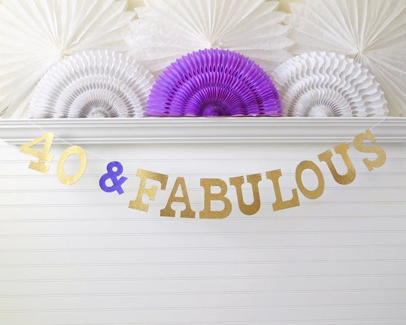 40 Fabulous Banner Glitter 5 inch Letters Birthday Party