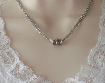 """JUDITH JACK Sterling Silver Genuine MARCASITE Drop Triple-Strand Faceted Shot Bead 16"""" Choker Necklace"""