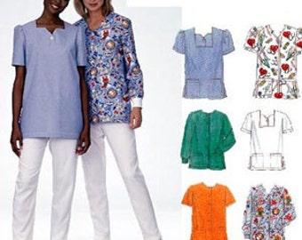 PLUS SIZE SCRUBS Sewing Pattern - Six Easy Scrub Tops Long & Short Sleeve Three Sizes