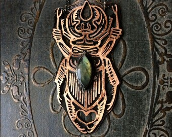 Insect Necklace - Stag Beetle Design - One of a Kind - custom made jewelry - handmade in Austin, Tx
