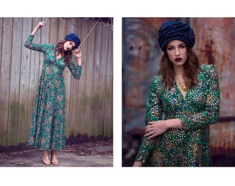 THE GOLD COLLECTION   70s *designer* Victor Costa green paisley & colorful sequin maxi dress   small