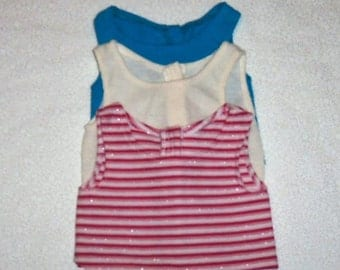 18 Inch Doll Shirts, 3 Cotton Tank Tops, American Made, Girl Doll Clothes, Blue Beige, Pink Striped, Basic Attire