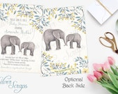 Watercolor Elephants and Flowers Custom Baby Boy Shower Sprinkle Invitation, Blue Yellow Gold Turquoise Grey Aqua Floral Mommy Matching Back