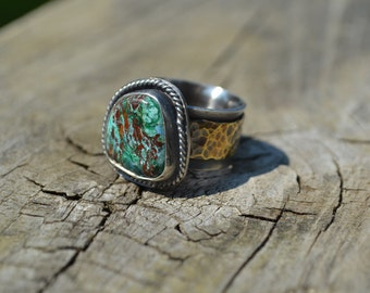 Chrysocolla with Azurite Brass and Sterling Silver Ring  Size 6