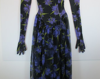 Betsey Johnson Vintage Royal Purple Iris Print Semi Sheer Strapless Dress & Gloves