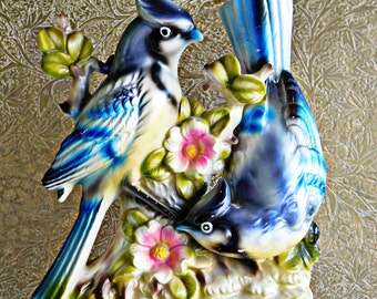 Stunning Large Bird Figurine , Amazing colors hand painted and hand made in Japan 1950's Home Decor Classic Mating Pair Blue Birds on Branch