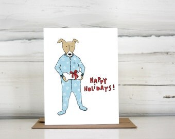 Dog in Footie Pajamas Holiday Card Set